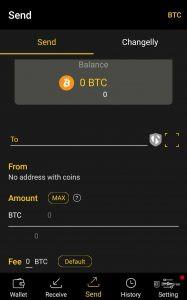 Send crypto through coolwallet-s
