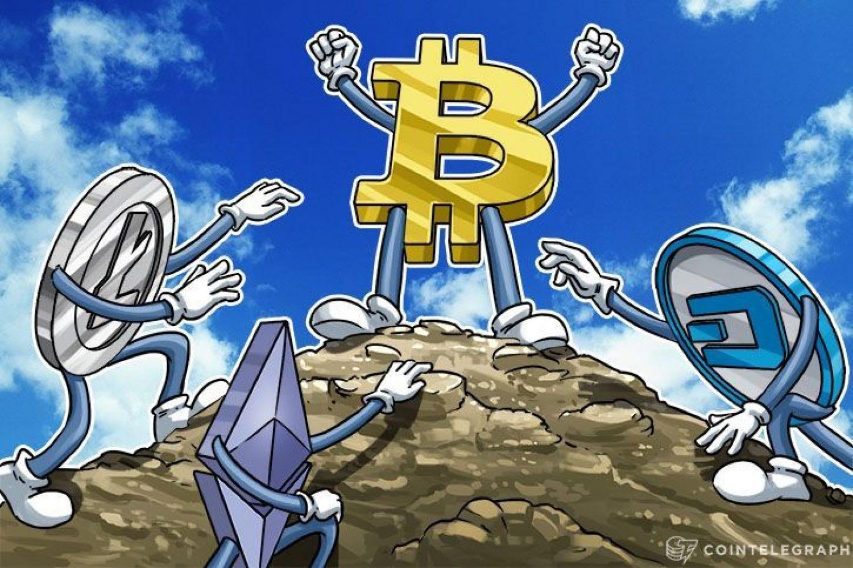 Bitcoin on top of a mountain, Litecoin, Dash and Ethereum are climbing